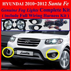 2010 2011 2012 Hyundai Santa FE Fog Light Lamp Complete Kit Wiring Harness Kit