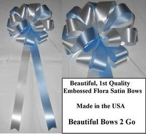 10 Blue White Pew Bows Ribbon Wedding Decorations Baby Shower Party Gift Chair