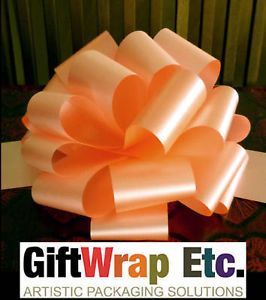 6 Big Melon Peach Pull Bows Gift Wrap Balloons Wedding Pew Chair Decorations