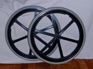 "Quickie Mag 24"" Wheelchair Wheels Primo Flat Free Tires Vinyl Covered Rims"