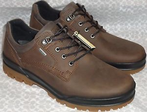 522004 New Ecco Track 6 Gore Tex Lace Cocoa Brown Leather Men's Boots Shoes