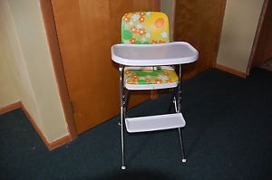 Vintage Retro Chrome Floral Vinal Baby Folding High Chair Cosco Toddler Child