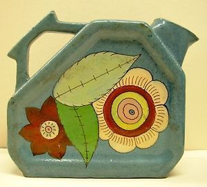 Vintage Mexican Old Art Deco Hand Painted Floral Pottery Decanter Pitcher Jug