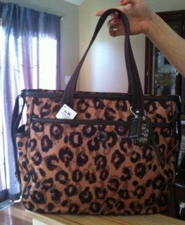 BNWT Coach Baby Bag Ocelot Print Tote Brown Multi MSRP 298 Very RARE