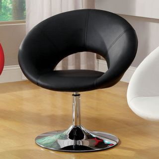 Contemporary Modern Swivel Black Faux Leather Accent Chair Chrome Base Stylish