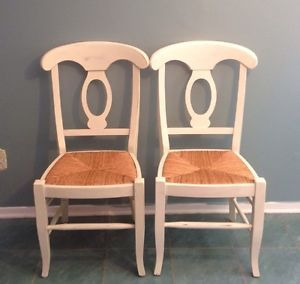 Pottery Barn Napoleon Dining Chairs Rush Seat Set of 2