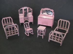 Antique Tootsie Toy Soft Metal Miniature Dollhouse Pink Bedroom Rocking Chair