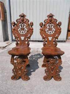 2 Great Carved Antique Circa 1880 Victorian Figural Italian Chairs 13IT030