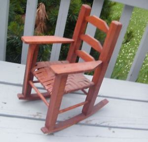 "Vintage Hand Made Wood Wooden Weave Toy Furniture 18"" Doll Bear Rocking Chair"