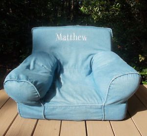 Pottery Barn Kids Everywhere Chair Blue Denim Arm Chair Monogrammed Matthew