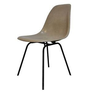 Early Vtg Mid Century Modern Fiberglass Shell Side Desk Chair Eames Style Retro