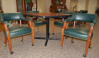 "Triune Business Furniture 42"" Square Commercial Table Leather Chair Set 20AVL"