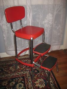 Vintage Metal Sturdy Retro Red Chair Stool w Back Support Industrial