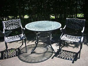 "3 PC Heavy Duty Cast Aluminum Patio 42"" Glasstop Table w 2 Matching Chairs"