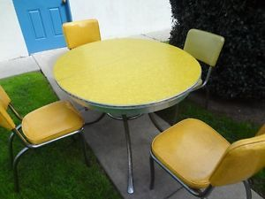 Vintage Yellow Dining Table and Chairs Retro Dinette Set Chrome Formica Art Deco