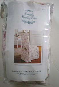 NIP Simply Shabby Chic Dining Chair Cover Cottage Rose Floral Cotton New