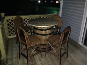 5 PC Whiskey Barrel Pub Tables and Chairs