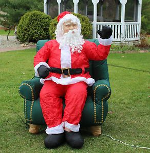 5' Tall Christmas Gemmy Airblown Inflatable Lifelike Animated Santa in Chair