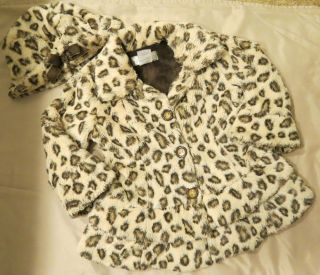 Widgeon Girls Leopard Print Faux Fur Coat Jacket Hat Sz 4 Super Soft