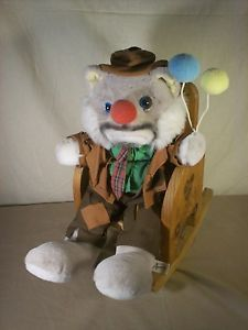 Vintage Luigi Armani Emmett Kelly Jr Animal Plush Clown with Rocking Chair