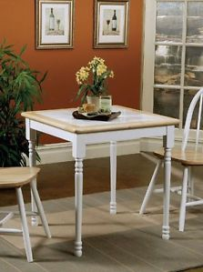 New 3pc Piece White Tile Top Natural Wood Dining Table 2 Chairs Dinette Set