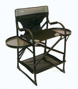 "Professional ""Make Up Pro"" Mid Size Tall Folding Director Chair Side Table Trays"