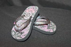 Roxy Toddler Girls Flip Flops Pink Black Glitter Straps No Size Maybe 4 5