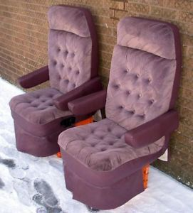 1998 Dodge RAM Imperial Van Purple Cloth Leather Front Seats Captain Chairs