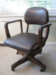 Antique Mahogany Leather Captains Swivel Office Desk Chair Vtg Industrial Age
