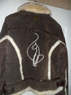 Baby Phat Suede Leather Coat Brown with Faux Shearling Trim $375 Retail