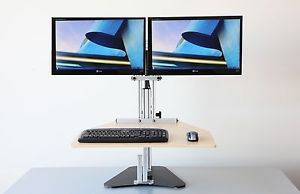 Ergo Desktop Kangaroo Elite Adjustable Height Sit Stand Desk with Dual Monitor