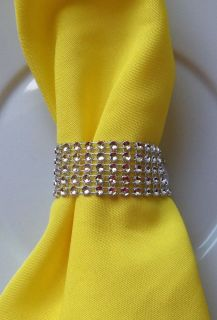 250 Silver Rhinestone Bling Wedding Napkin Rings or Chair Sash Decoration 6 Rows