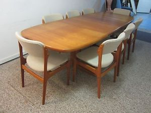 Mid Century Danish Modern Teak Surfboard Dining Table 8 Chairs Nice