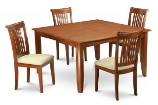 9pc Square Dinette Kitchen Dining Table Set 8 Upholstered Chairs in Brown Finish