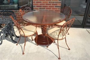 Vintage Iron Dining Set Table Chairs with Flower Design Glass Top