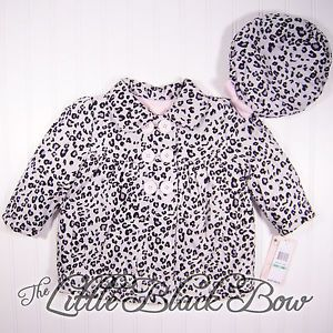 Baby Girls 12 18 24 Months Leopard Print Winter Coat w Beret Hat Button Up