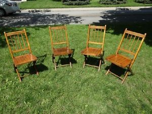 Nice Set of 4 Antique Wood Folding Chairs Church Funeral Picnic Spindle Slat Old