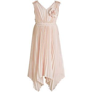 Monsoon Girls Dress Florentine Pale Pink Pleated Party Bridesmaid Wedding New