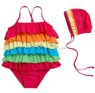 Girls Rainbow Ruffle Layered Swim Dress Swimsuit Kid Bathing Suit Sz 2 7 UPF 50
