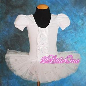 Girl White Ballet Tutu Dance Costume Fairy Fancy Dress Leotard Toddler 4 5 020