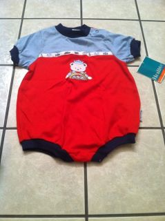 18 Month Baby Romper Red Blue Nautical Sailor Bear