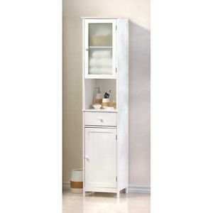 Lakeside 1 Drawer 1 Shelf 2 Door Glass Lacquer White Wood Tall Storage Cabinet