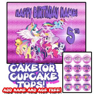 My Little Pony 1 Birthday Cake Cupcakes Topper Edible Picture Decoration Party