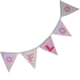 Personalised Fabric Bunting Flags Alphabet Letters Numbers Design Your Own