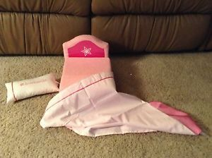 American Girl Pink Plush Folding Bed Lounge Chair with Blanket and Pillow