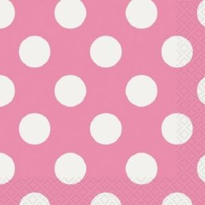 Polka Dot 16 Hot Pink Large Dinner Napkins Birthday Party Supply Baby Wedding