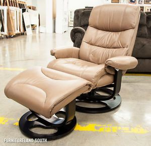 Lane Home Furnishings UPH Rebel Tan Leather Reclining Chair and Ottoman
