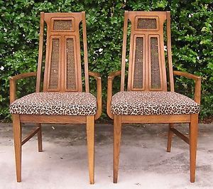 Mid Century Pair of Cane Back Dining Arm Chairs by Bassett Vintage Leopard Print