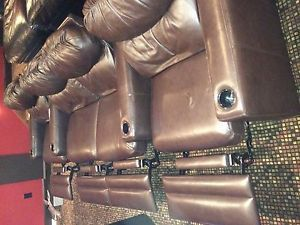 Home Movie Theater Chocolate Brown Leather Reclining Seats Chairs
