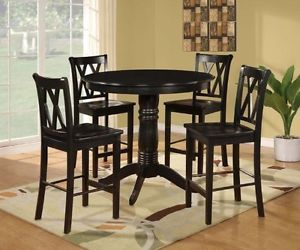 5 PC Black Pedestal Dining Set Kitchen Table Counter Height Chair Stool Island